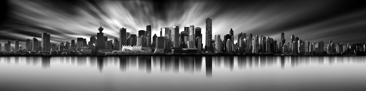 Vancouver Skyline Long Exposure Pano 4-1 Ratio