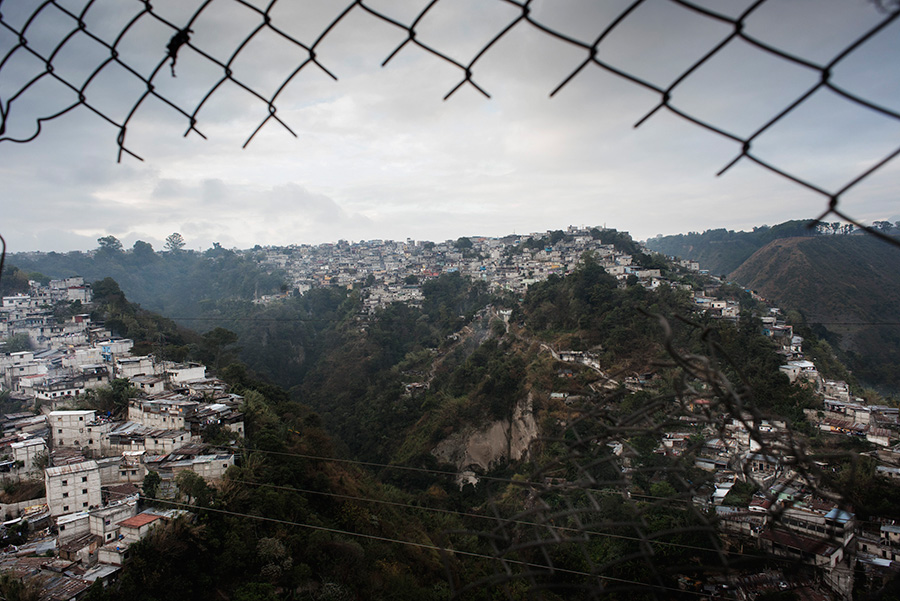 A conglomerate of houses on the outskirts of the capital Guatemala City.