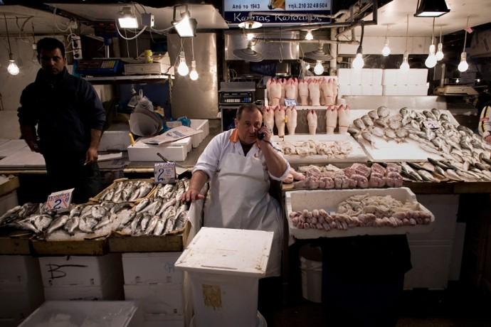 Athens fish & meat market by Milos Bicanski