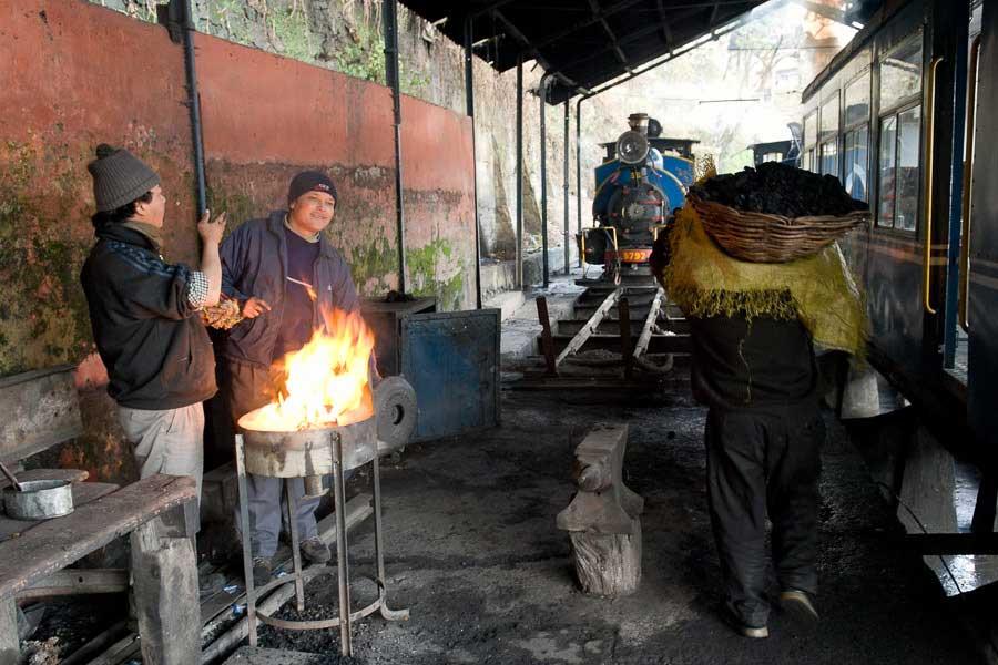 Engines of the Darjeeling Himalayan Railway in the Darjeeling station