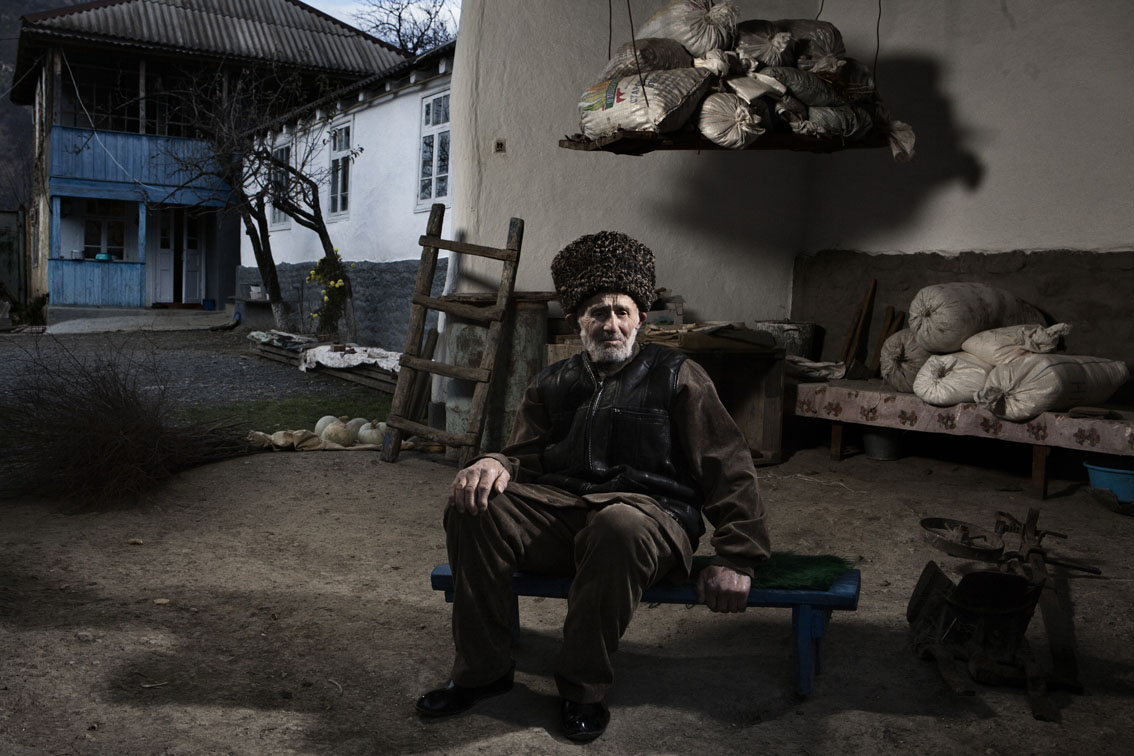 Chechen, Amin Dovtukayev, 89 years seen inside of the smith house, built by his grandfather.