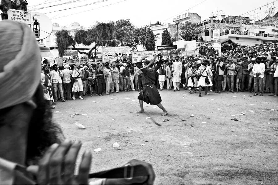 A mock fight at the Hola Mohalla, Anandpur Sahib, India