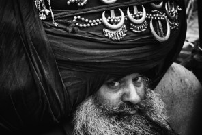 A Nihang Singh with Huge turban at Hola Mohalla, Anandpur Sahib, India
