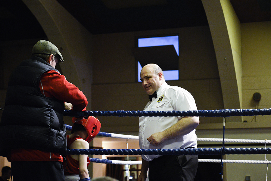 Friday night boxing bout at the East Ham Working Mens Club on the 10th April 2015, London.
