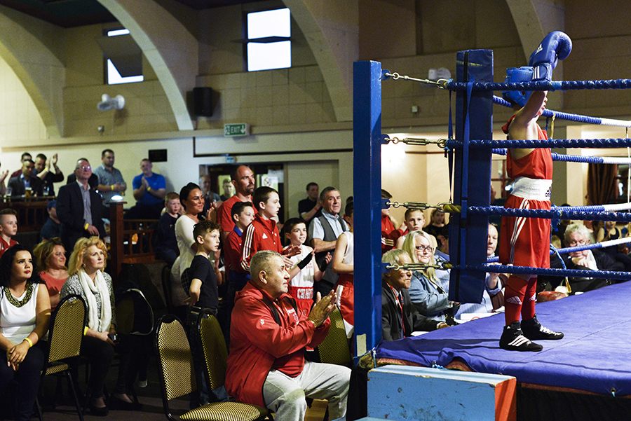 Amateur boxing bouts at the East Ham Working Mens Club on the 10th April 2015, London.