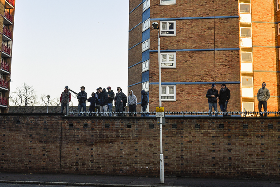 West Ham United fans support their team outside the stadium during a football match the 27th December 2014, London, Upton Park, Boylen ground.