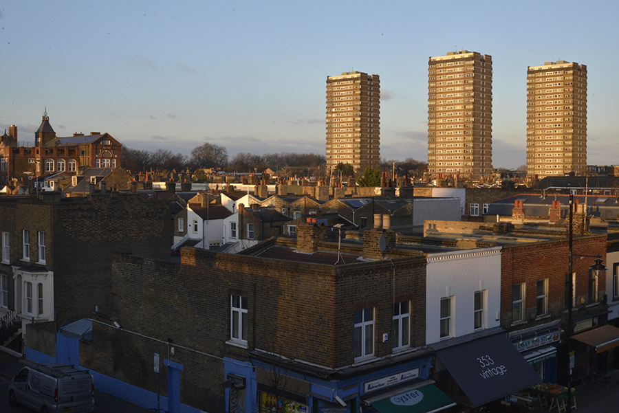 Disappearing Home-London East End's English community. 16. A view of the East End, with tall its traditional bricks houses in Bow on 12 February 2015, London.