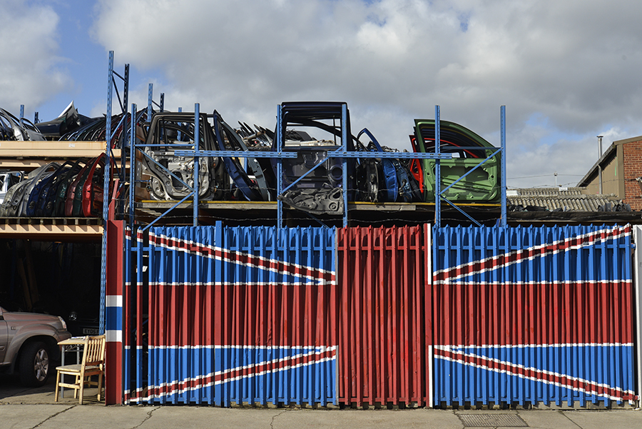 Disappearing Home-London East End's English community. A Union Jack flag painted on the side of a car repair shop in Hackney Wick on the 26th March 2015, London.