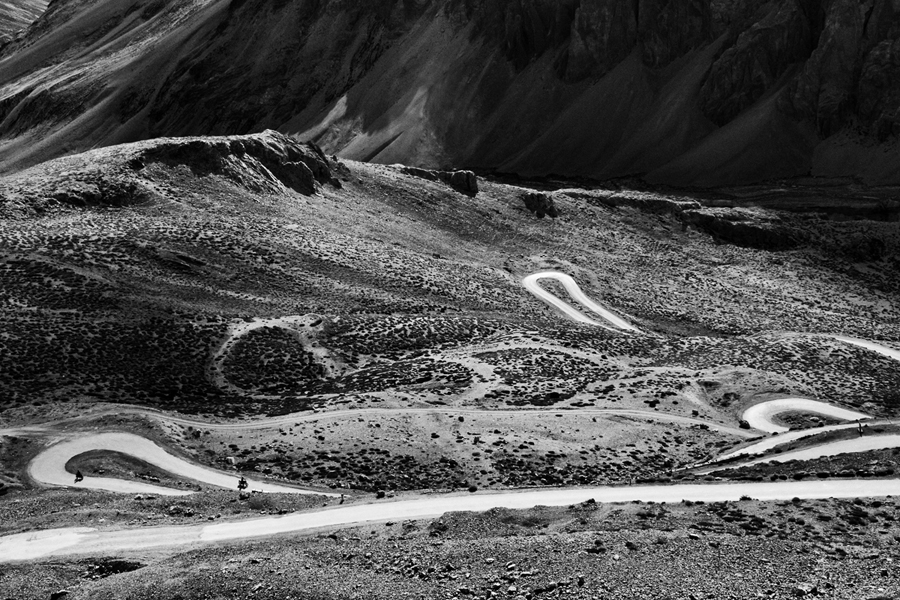 Curvaceous roads in the majestic land of Ladakh, India