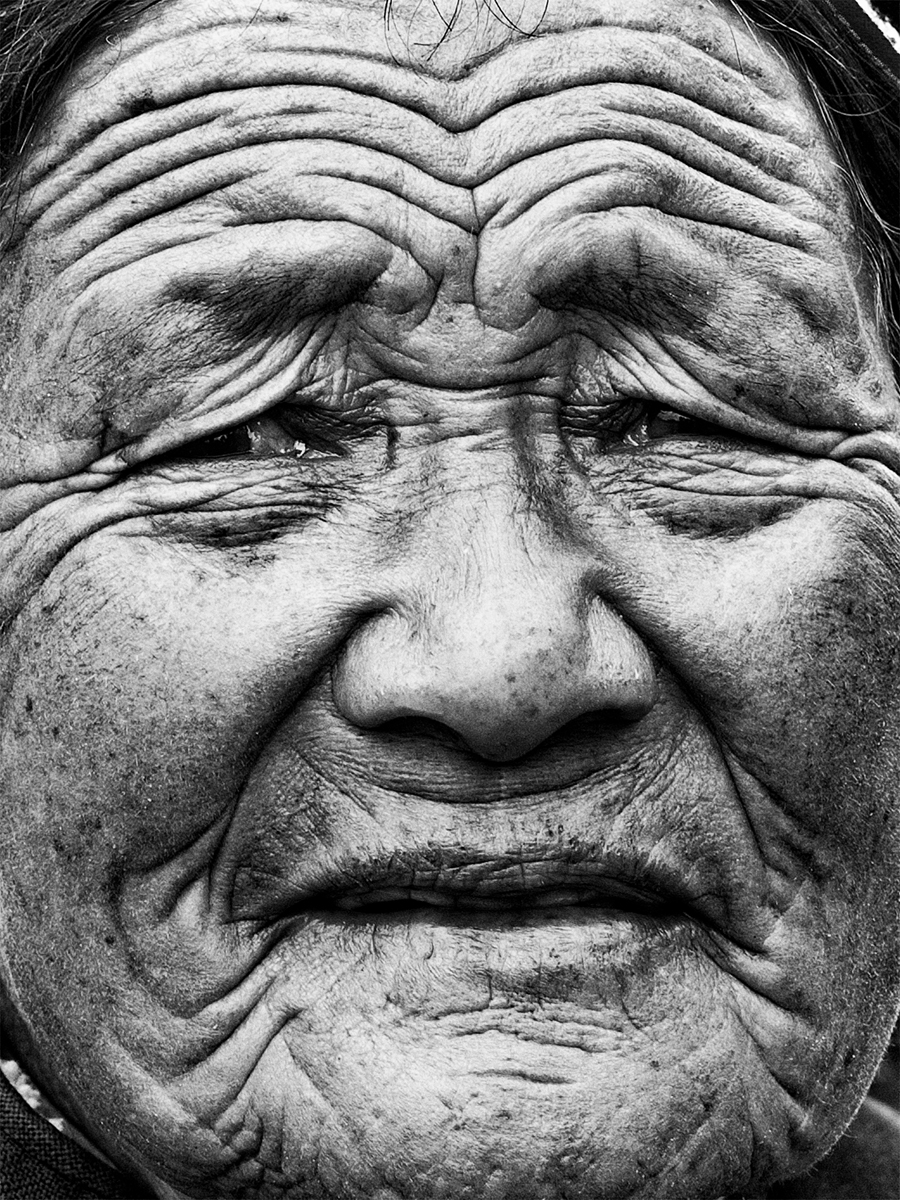 portrait of an old lady narrating the life she's lived