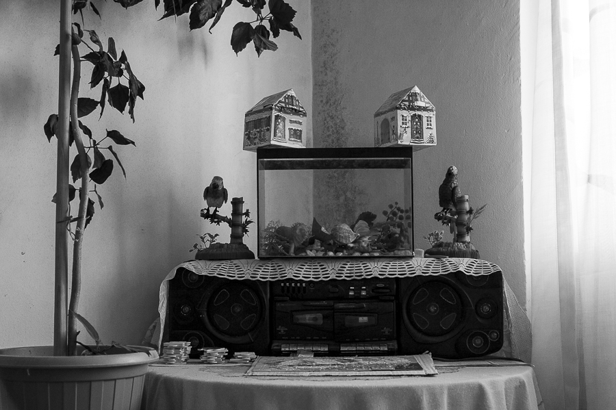 "A broken aquarium sits on a tape recorder out of cervice (Ion Cojocea's house - neighborhood ""New Town"")."