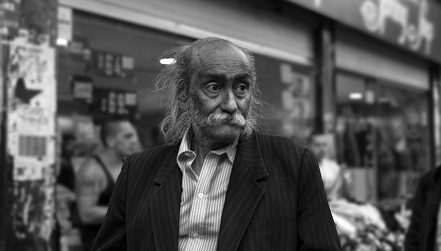 Portrait of a passerby in downtown of Bogota.