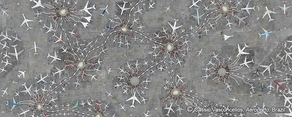 """Cassio Vasconcellos – Aeroporto, Brazil 'Aeroporto' is the portrait of the connected world. This is an imaginary airport, built with hundreds of separate images captured by Vasconcellos while flying over Brazil. Dubai Photo Exhibition, taking place in a city with the busiest international airport in the world, brings this monumental work, formed by 32 panels and spanning 128 x 320 centimetres. The artist refers to the work as """"real and fictional at the same time."""" """"The hubs and connections have the appearance of neurons and their axons. Neurons carry 'messages' and make synapses to give us our thoughts,"""" says Vasconcellos."""