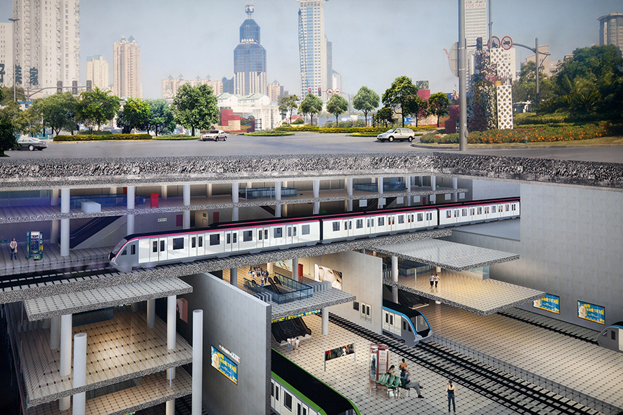 A rendering displayed in The People's Square depicting a cross-section of new development in Shanghai, complete with underground railway and pedestrian pathways devoid of trucks and motorcycles.