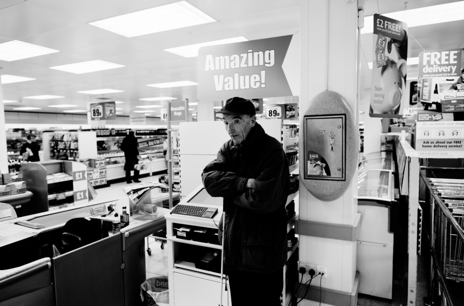 David waiting for the supermarket staff to collect his order.