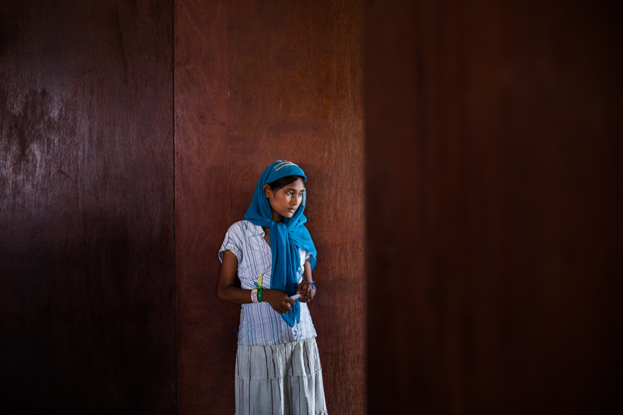 R (11), a Rohingya refugee from Myanmar, at a temporary shelter in Bayeun, East Aceh, Indonesia. She said that the government does not allow her to go to school. On May 20th 2015, around 400 refugees and asylum-seekers stranded at sea for months were rescued by Indonesian Fisherman in Julok, Aceh province, Indonesia.