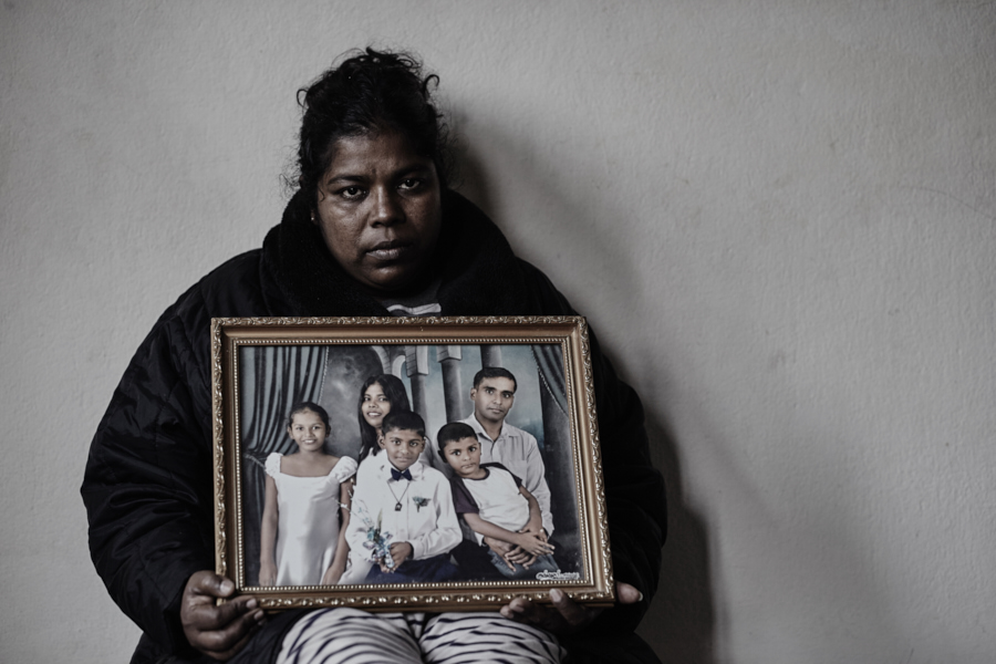 Woman from Sri Lanka who lives with her three children as illegal refugees in Kathmandu, Nepal. Her husband is imprisoned at the Galle prison in Sri Lanka. The story cannot be told here due to security concerns for the family.
