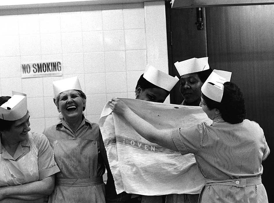 Cooks at Holyhead School, Handsworth. 1986