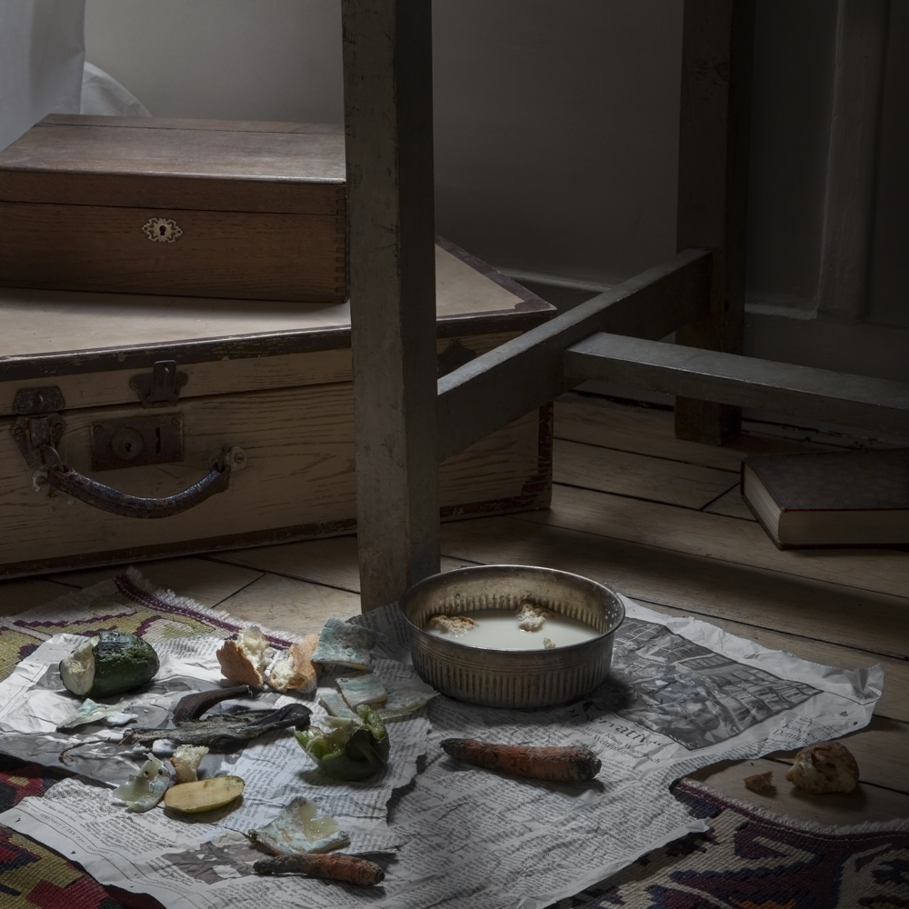 "From 'Fictitious Feasts', work about food scenes in literature. Here in Gregor Samsa's bedroom, the rotten food and bowl of milk, from the Czech novel ""The Metamorphpsis"" (Die Verwandlung) by Franz Kafka"