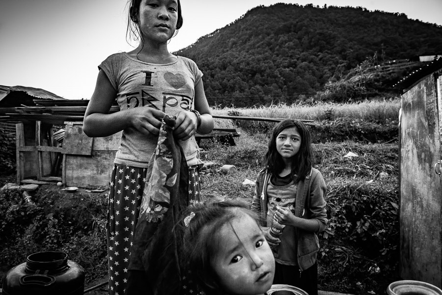 Girls in the village of Baluwa, Gorkha District. Near the epicentre of the 2015 earthquake which killed 9,000 people.