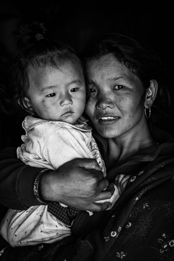 Dhan Maya Ghale hugging her child. A resident of Barpak where the epicentre of the 2015 earthquake was. She lost her daughters, a 6-year-old girl and a 3-day-old infant.