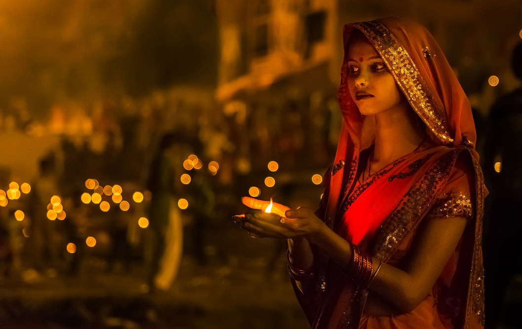 Diya or the earthen light is an integral part of an Indian woman's religious rituals.