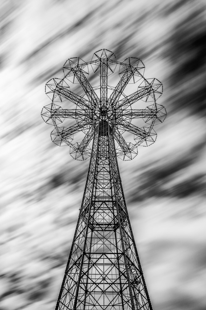"The Parachute Jump is a defunct amusement ride in Coney Island, Brooklyn, New York, whose iconic open-frame steel structure remains a Brooklyn landmark. 250 feet tall and weighing 170 tons, it has been called the ""Eiffel Tower of Brooklyn""."