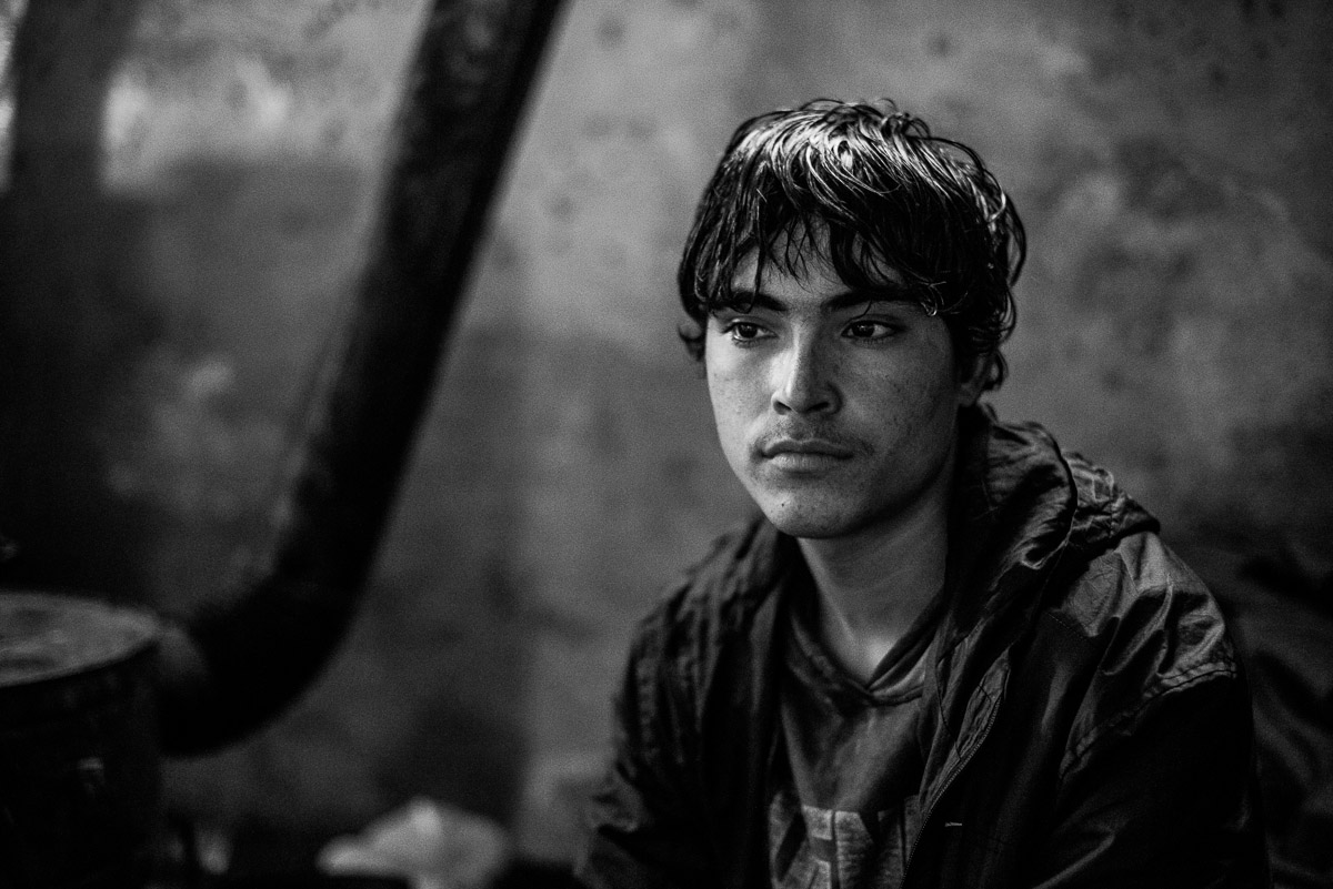 15 years old Shaw Khane from Afghanistan. From 6 months he lives in the makeshift shelter near the main train station in Serbia, Belgrade