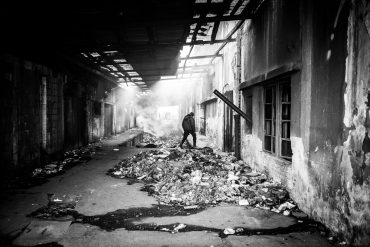View of inside the abandoned barracks Serbia, Belgrade main train station. People live there in inhumane conditions.
