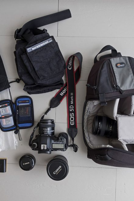 Inside the camera bag of Efrat Sela