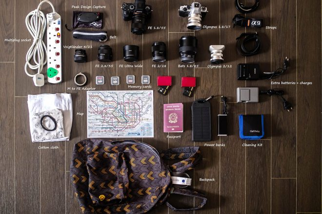 Inside the camera bag of Lucio Farina