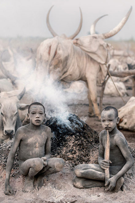 Mundari cattle camp by Trevor Cole