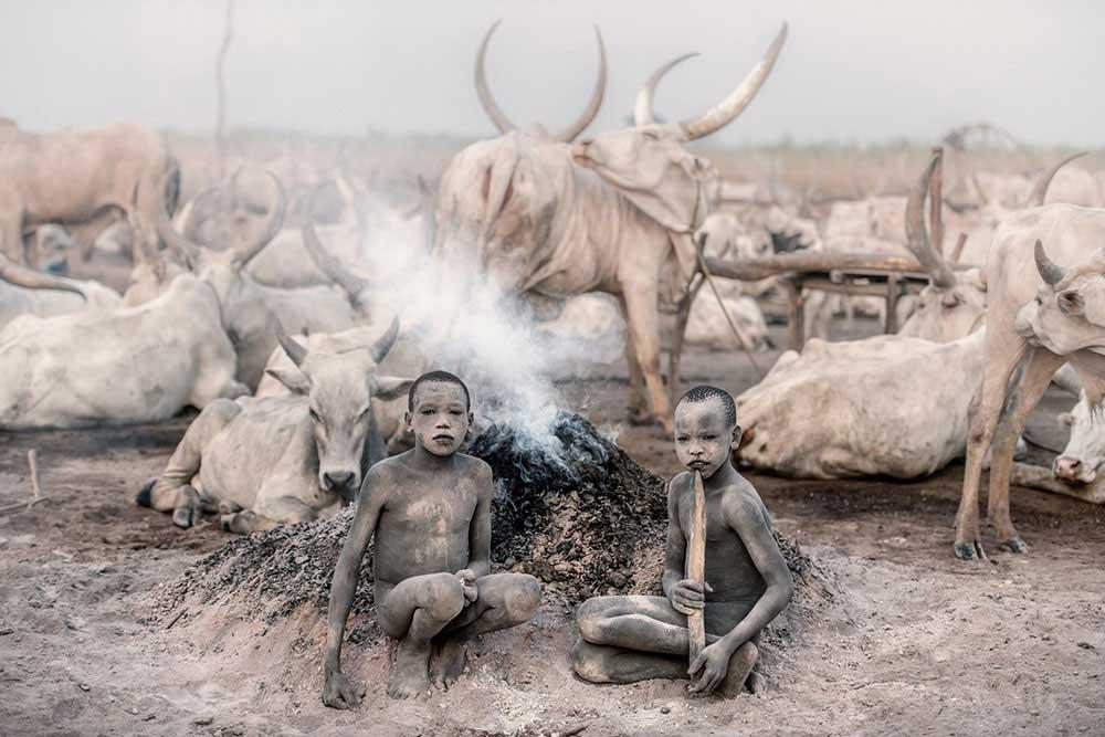 Mundari cattle camp by Trevor Cole