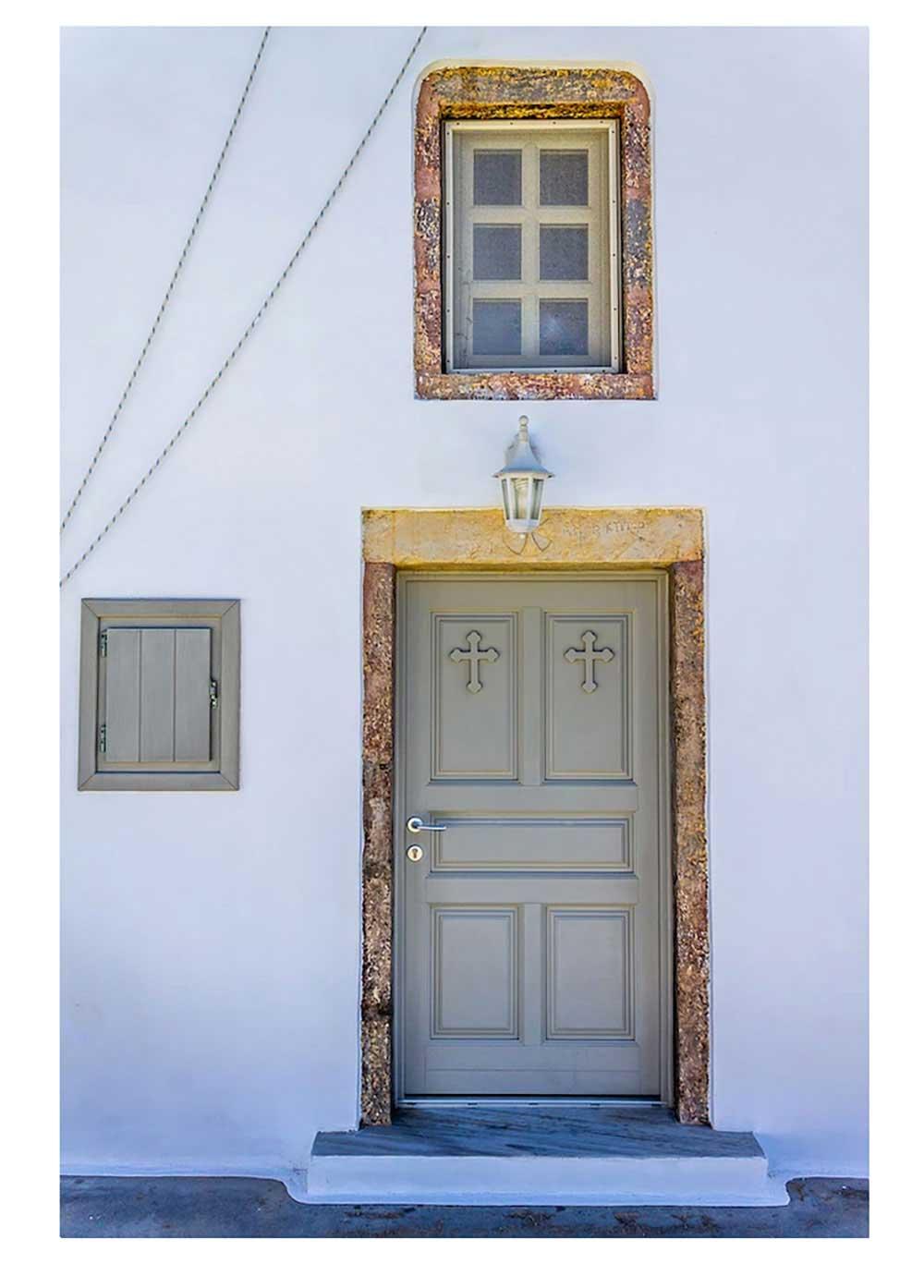 Pyrgos Callistis chapel door, Santorini, Allison Bierman