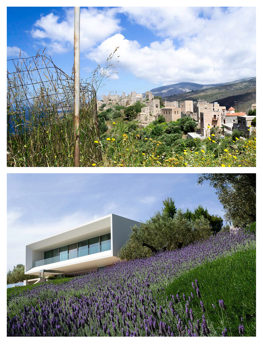 Vathia Mani and TRIF House by Sergey Fedotov in Porto Heli, diptych, Riley Doty