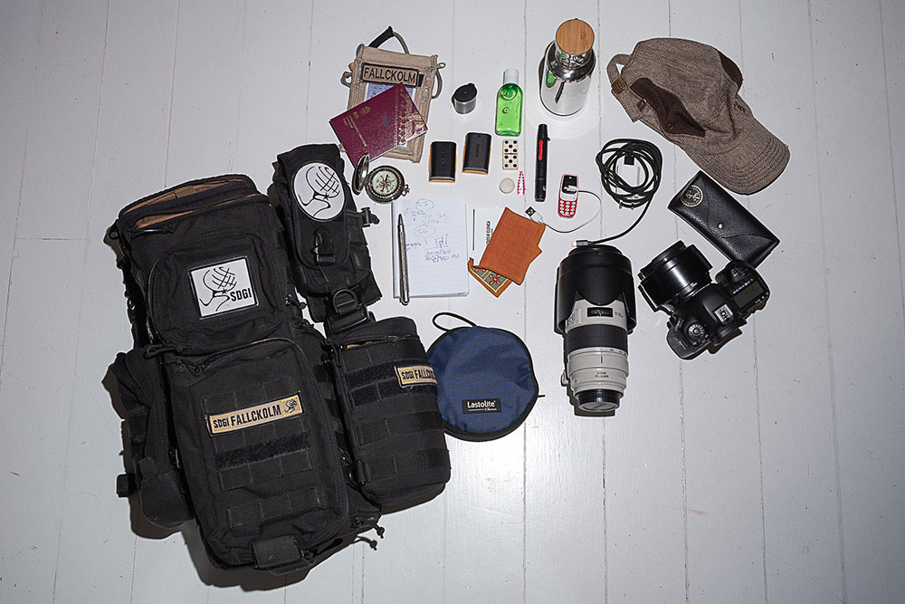 Inside camera bag of Fallckolm Cuenca
