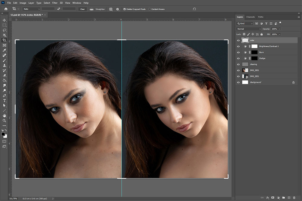 work on skin flaws in nude photography